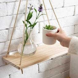 1/2PC Home Wall Mounted Wooden Hanging Storage Rack Floating