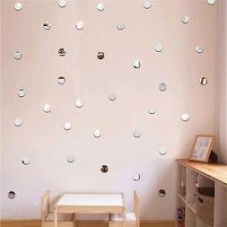 100pcs 3D Mirror Round Vinyl Wall Sticker Decal Home Decor A
