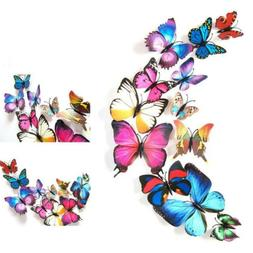 12pcs 3D Butterfly Wall Stickers Vivid Decal Kitchen Room Ho