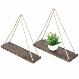 17-Inch Distressed Wood Hanging Swing Rope Floating Shelves,