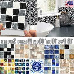 180PCS Kitchen Tile Stickers Bathroom Mosaic Sticker Self-ad