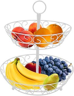 Sorbus 2-Tier Countertop Fruit Basket Holder & Decorative Bo