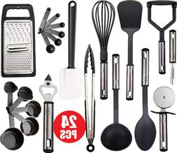 24 PCS Kitchen Utensils Set Cooking Tools Stainless Steel Lu