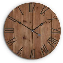 24 Inch Rustic Wooden Wall Clock Home Kitchen Farmhouse Art