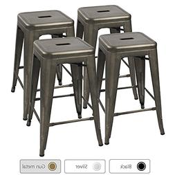 Furmax 24'' Metal Stools High Backless Silver Metal Indoor-O