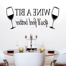 2x Removable Wine A Bit Cup Kitchen Vinyl Decal Art DIY Wall