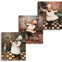 3 Jolly Chefs Poster Set 8x10in Kitchen Decor Prints