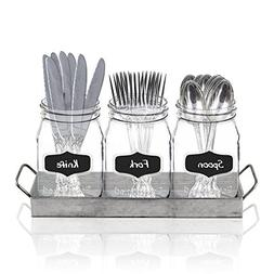 3 Glass Mason Jars with Black Chalk Label and Marker - 17 Ou