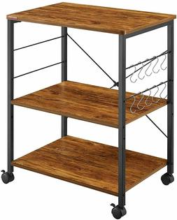 3-Tier Vintage Kitchen Utility Cart Rack With 10 Hooks Livin