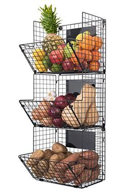 Premium 3-Tier Wall Mounted Hanging Wire Baskets with Chalkb