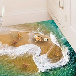 3D Floor Wall Stickers Beach Removable Mural Decals Bathroom