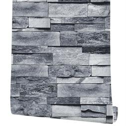 3D Grey Stone Brick Wallpaper Self Adhesive Wall Stickers Ki