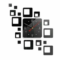 3D Mirror Wall Clock Sticker Modern Large Surface Home Offic