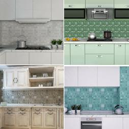 3D Mosaic Aluminum Foil Wallpaper Anti-oil Kitchen Decor Wal
