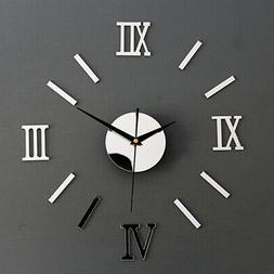 3D Wall Clock Roman Numerals Mirror DIY Decal Stickers Moder