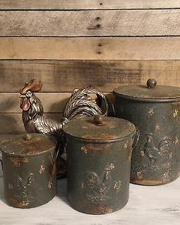 3pc Set Rooster Canisters Rustic Farmhouse Ranch Country Kit