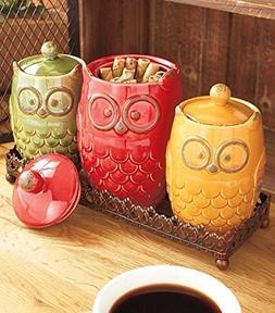 4 Piece Whimsical Ceramic Owl Canister & Metal Tray Kitchen