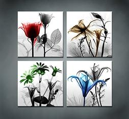 youkuart 4 Panel Flower Canvas Print Wall Art Painting For L