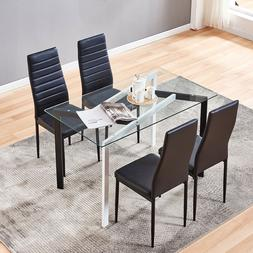 4 Pcs Chairs Glass Dining Table Metal Leg Kitchen Home Decor