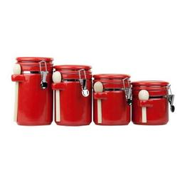 4 Piece Ceramic Canister Set with Wooden Spoons, Red