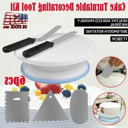 6pcs Cake Decorating Tips Pieces Kit Tools Turntable Stand