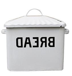 "Creative Co-Op Distressed White""BREAD"" Box with Lid"