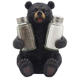 Decorative Black Bear Glass Salt and Pepper Shaker Set with