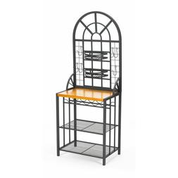 Home Kitchen Dining Decor Black Steel Bakers Rack Utility Ho