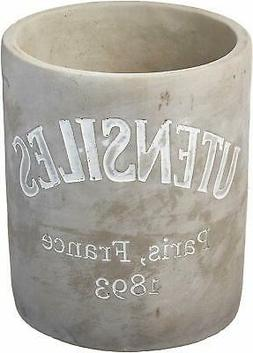 Mud Pie Concrete Utensils Crock, Gray