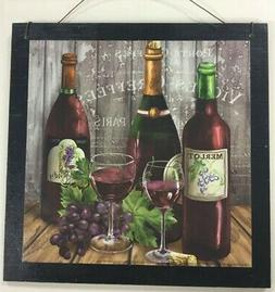 Paris Merlot red wine and grapes kitchen decor wooden wall s