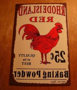 Red Rooster Baking Powder Sign Country Primitive Kitchen Chi