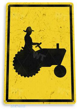 TIN SIGN Tractor Crossing Metal Décor Art Kitchen Cottage S