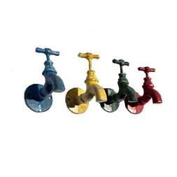 Vintage Garden Art Color Faucet Iron Wall Hooks - Set of 4