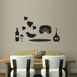 Wall Decal Kitchen Products Long Loaf Croissant Cheese Wine