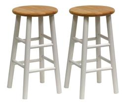 Winsome Wood S/2 Beveled Seat 24-Inch Counter Stools, Nat/Wh