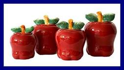 Set of 4 Apple shaped red ceramic CANISTERS country kitchen