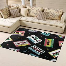 WOZO Audio Tapes in Retro 80s Style Music Black Area Rug Rug