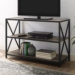 WE Furniture AZS40XMWGW Mixed Material Bookshelf, Grey Wash