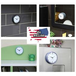 Bathroom Kitchen Waterproof Suction Cup Wall Clock Decor Sho