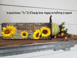 Blessed Inspirational Kitchen Sunflower  Wood Sign  Home Dec