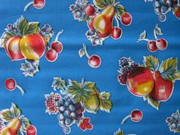 BLUE APPLE PEAR RETRO RETRO KITCHEN OILCLOTH VINYL SEW CRAFT