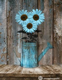 Blue Brown Rustic Kitchen Modern Farmhouse Home Decor Wall A