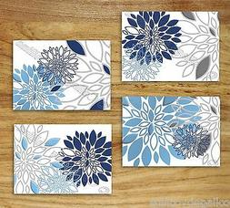 Blue Navy Gray Wall Art Picture Prints Decor Floral Kitchen