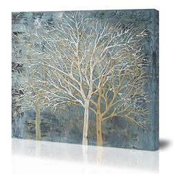Blue White Abstract Tree Wall Art Decor Canvas Painting Kitc