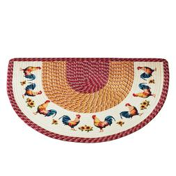 Braided French Country Slice Accent Rooster Kitchen Rugs - D