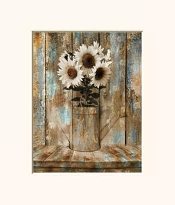 Brown Blue Rustic Sunflowers Modern Farmhouse Kitchen Home D