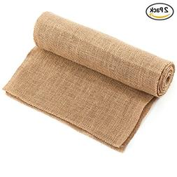 CCTRO Burlap Hessian Table Runner 12x108 Inch Rustic Natural