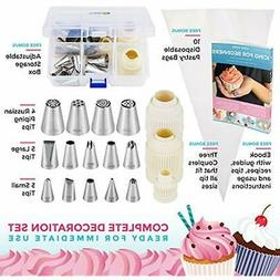 Premium Cake Decorating Tips Kit, Frosting Bags and Tip Set