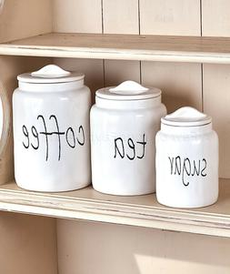 Canister Set Sugar Tea Coffee Simply Kitchen Country Farmhou