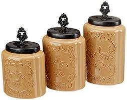 Canisters Set Cream Antique Canister Kitchen Bar Decor Organ